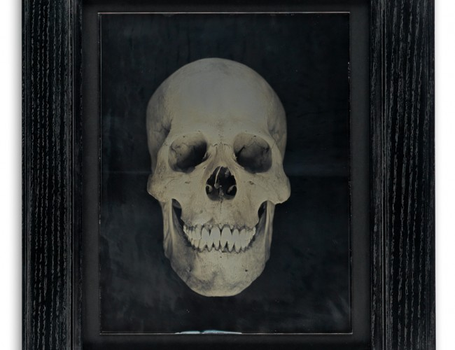 Lot 227: Adam Fuss, Untitled (Human Skull), unique and oversized daguerreotype, 2002. Estimate $15,000 to $25,000.