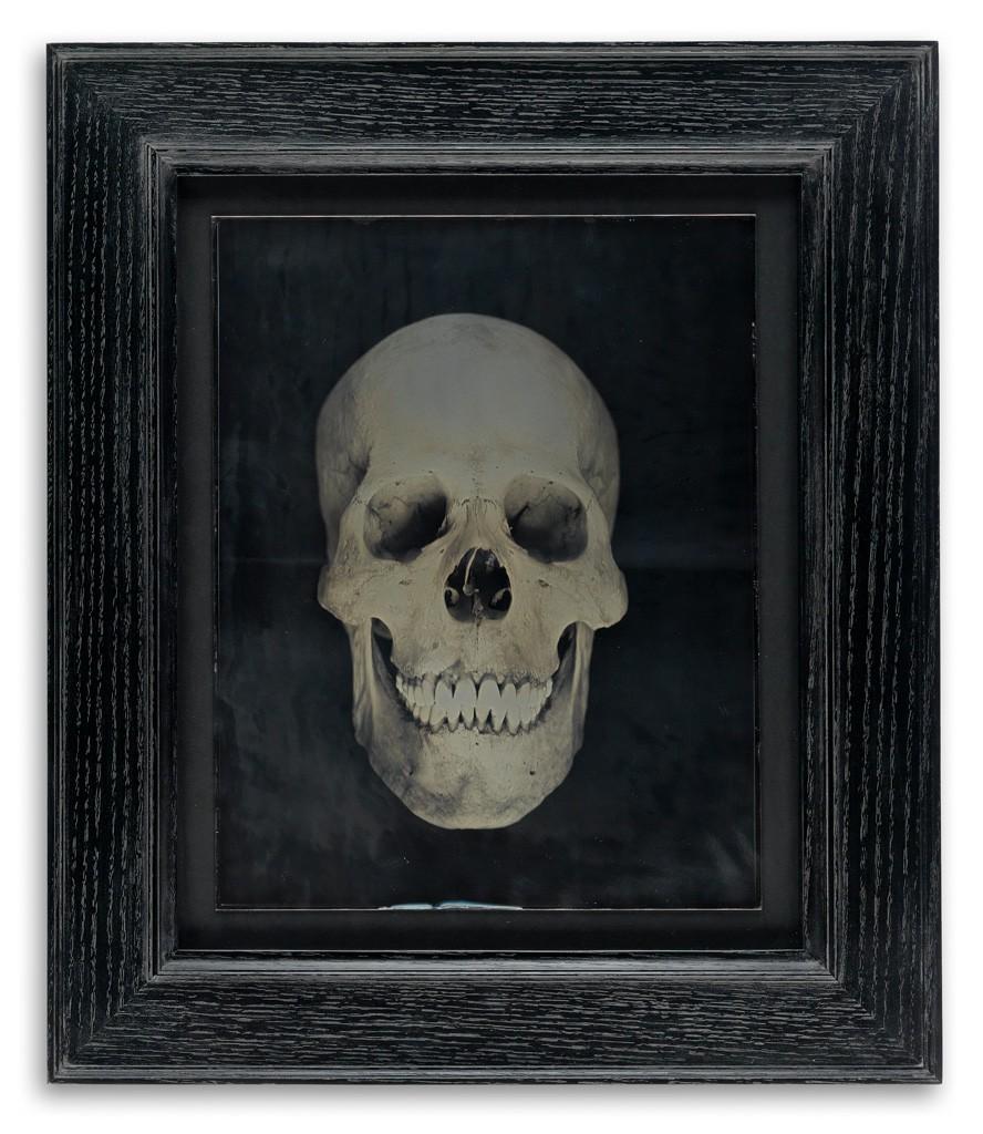 Lot 227: Adam Fuss, Untitled (Human Skull), unique and oversized daguerreotype, 2002. Estimate $15,000 to $25,000.