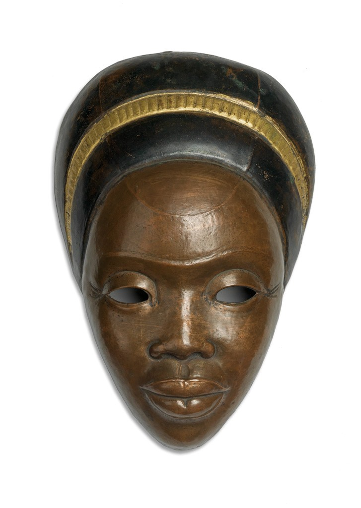 Lot 13: Sargent Johnson, Untitled (Negro Mother), painted copper, 1935-36. Sold April 6, 2017 for $100,000, a record for the artist.