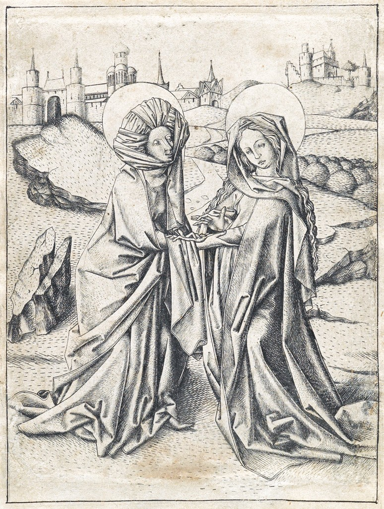 Lot 6: Master E.S., The Visitation, engraving, circa 1450. Estimate $70,000 to $100,000.