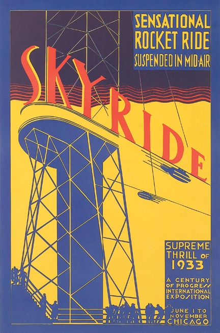 Skyride / Sensational Rocket Ride Suspended in mid-air. Supreme Thrill of 1933