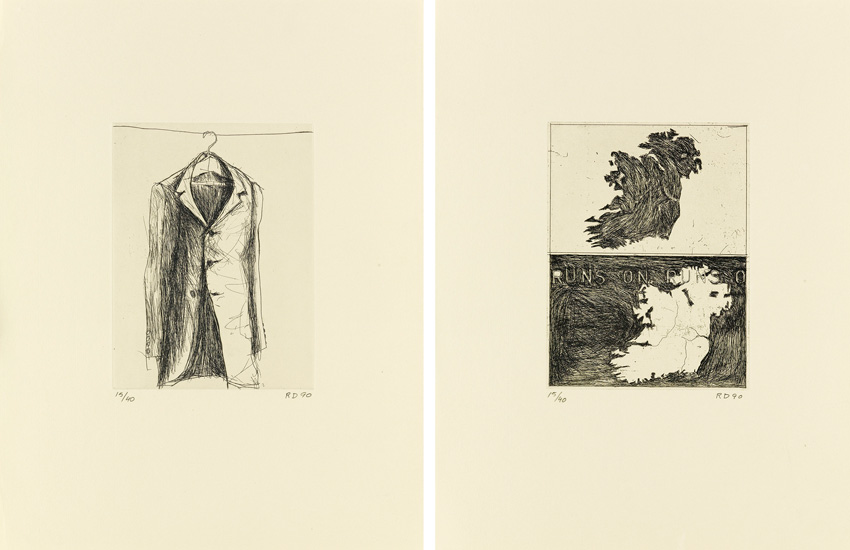 two etchings, a coat and a map, by Diebenkorn