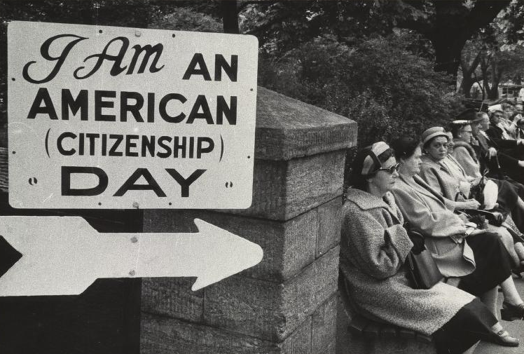 Robert Frank, Untitled-I am an American Day sign, in the permanent collection of the Herbert F. Johnson Museum at Cornell University.