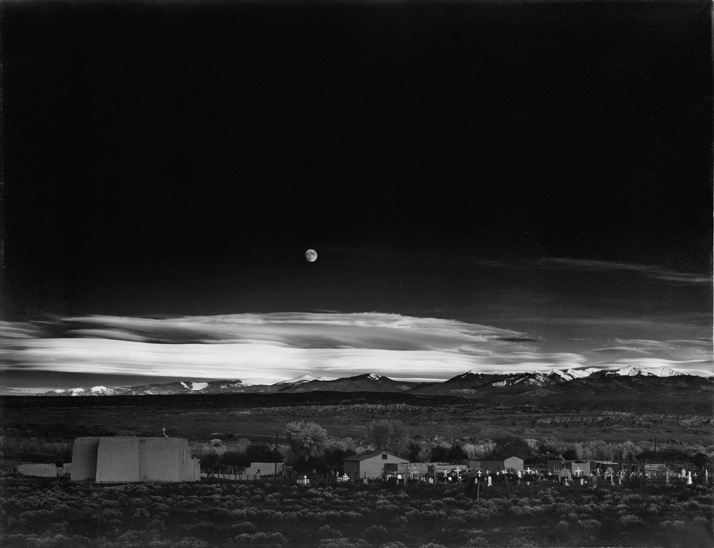 Lot 99: ansel Adams, Moonrise, Hernandez, New Mexico, mural-sized silver print, 1948, printed early to mid 1950s. Estimate $200,000 to $300,000.