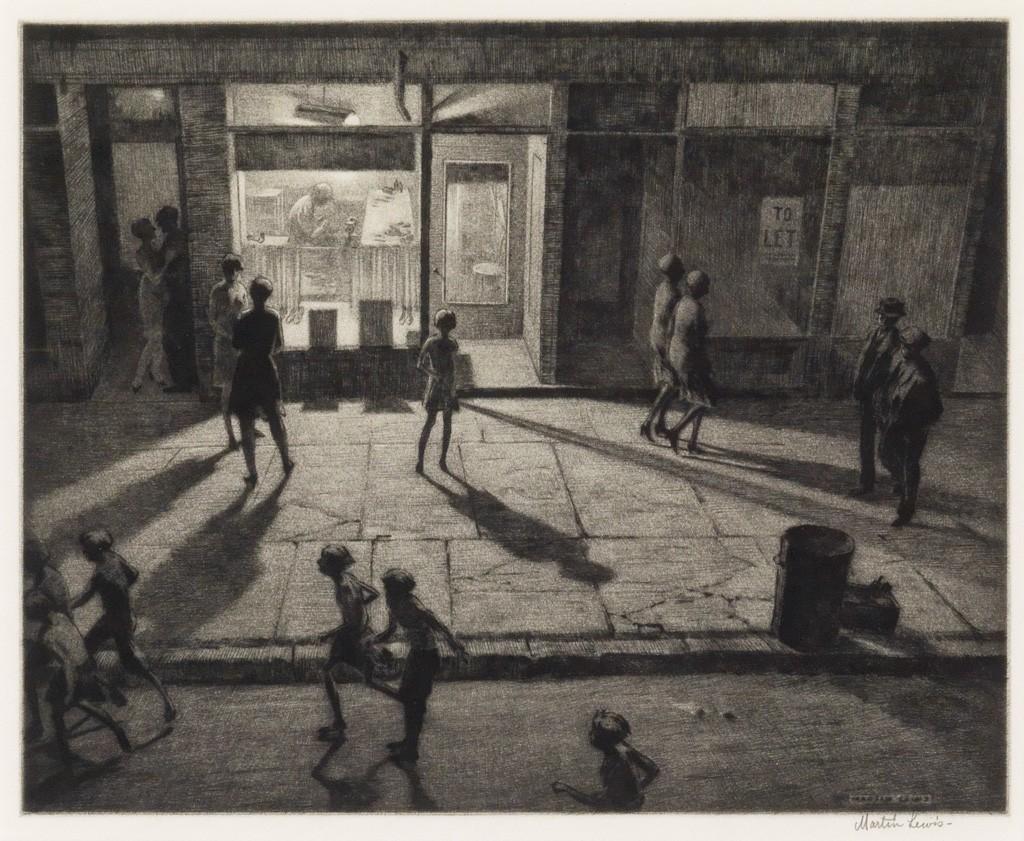 Martin Lewis, Spring Night, Greenwich Village, drypoint and sandpaper ground, American Prints