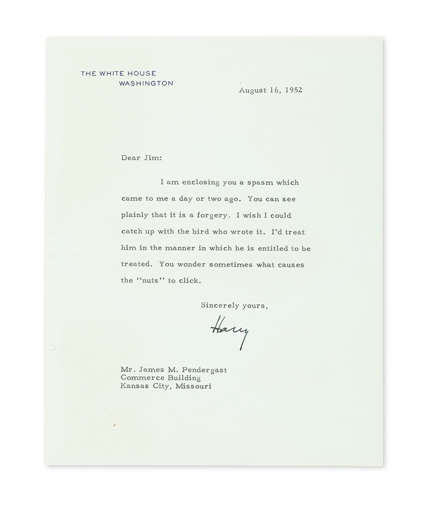 """Harry S. Truman, Typed Letter Signed """"Harry"""" as President, to James M. Pendergast"""