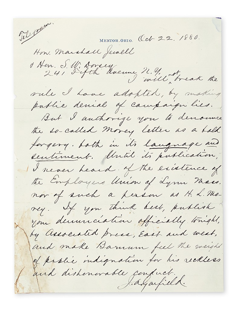 """James A. Garfield, Two Autograph Letters Signed, """"J.A. Garfield,"""""""
