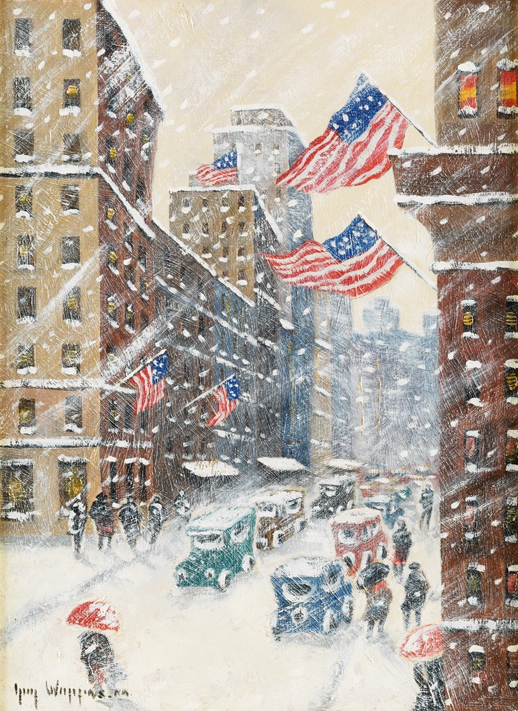 Guy C. Wiggins, Fifth Avenue Storm, oil on canvas board.