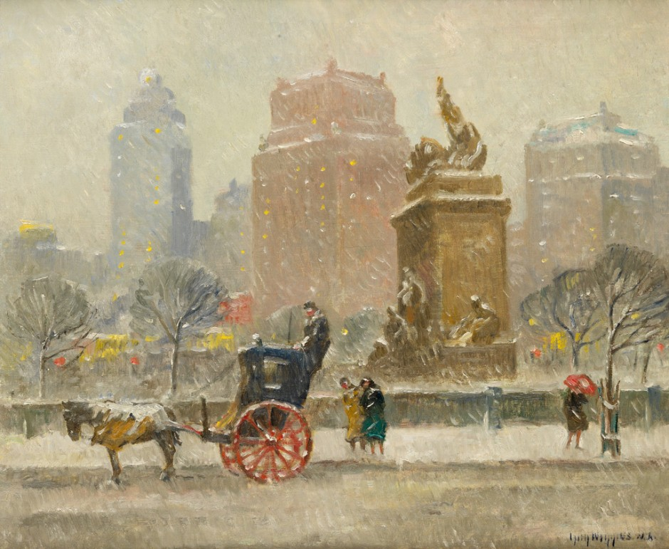 Guy C. Wiggins, Winter Along Central Park, oil on canvas, 1930s.