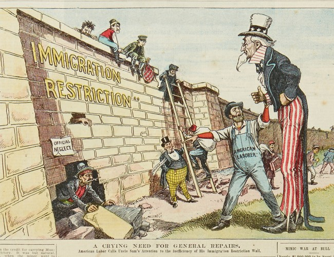 From a pair of issues of the Saturday Globe with color cartoons on the immigration issue, Utica, NY, 27 August 1904.