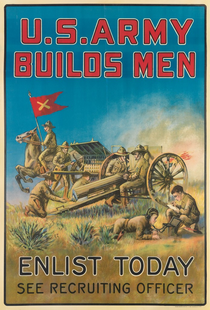 Lot 135: The U.S. Army Builds Men/ Enlist Today, circa 1919. Estimate $500 to $750.
