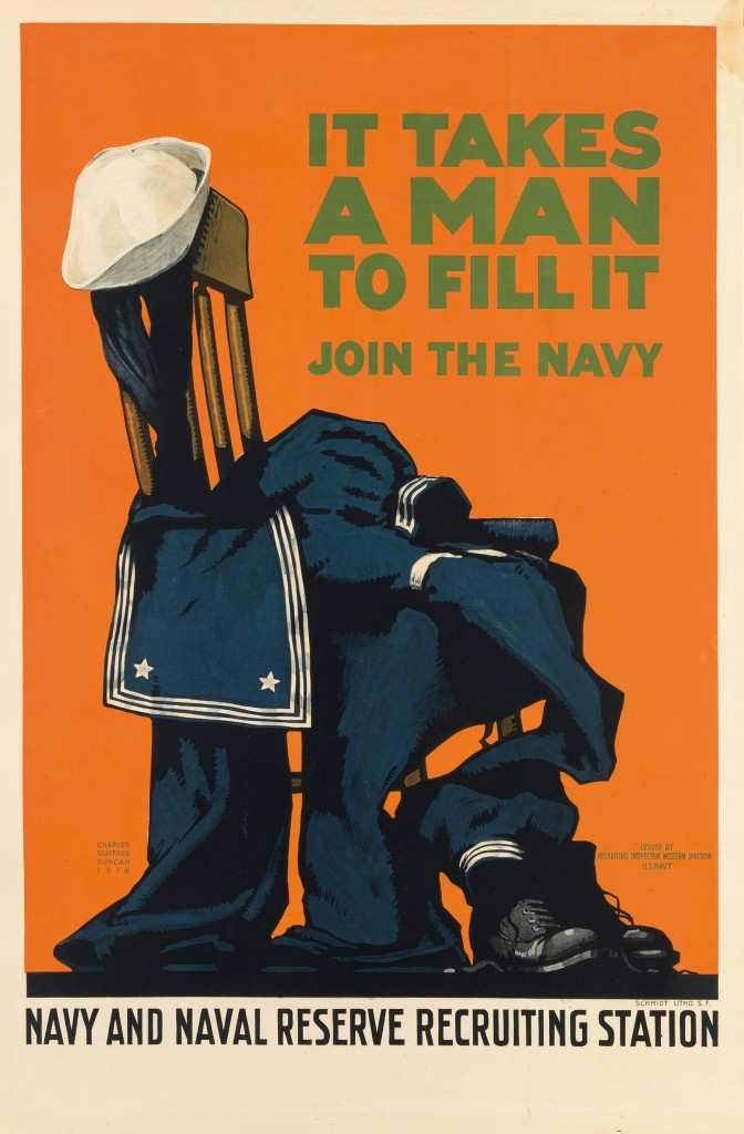 Lot 156: It Takes A Man To Fill It/ Join The Navy, Charles Stafford Duncan, 1918. Estimate $1,500 to $2,000.