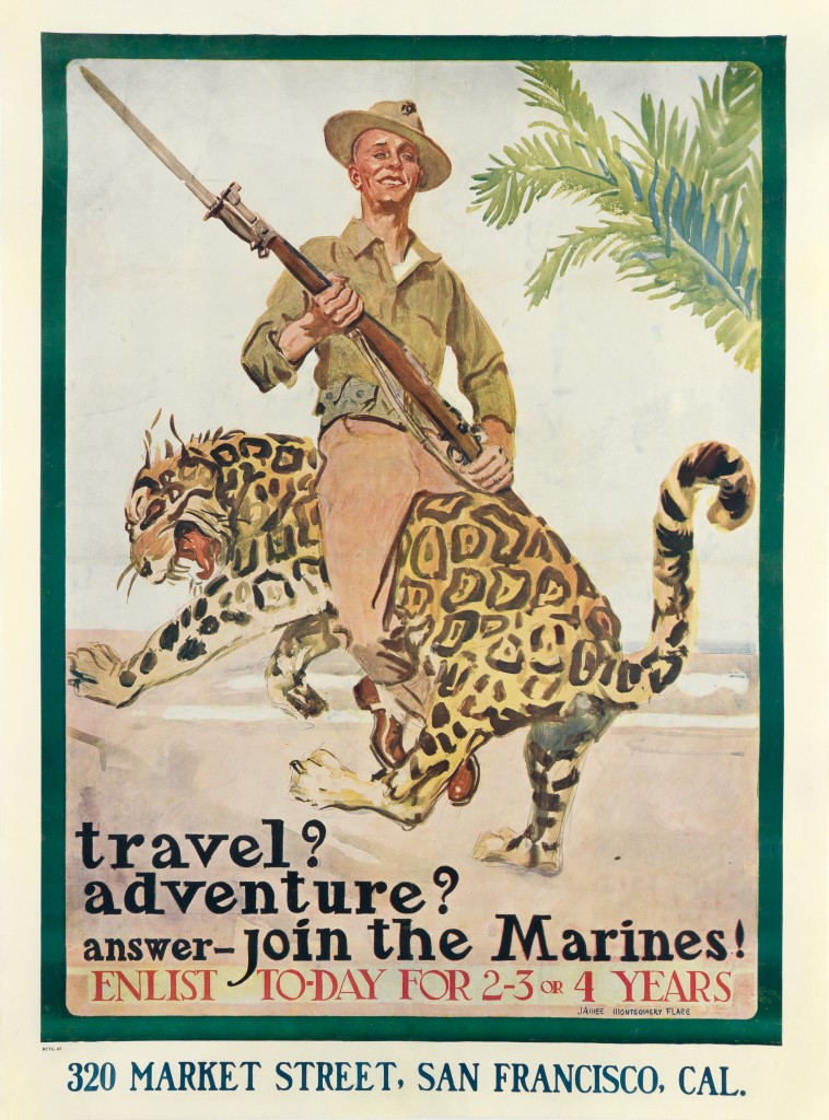 Lot 165: Travel? Adventure? Answer—Join the Marines!, James Montgomery Flagg, circa 1918. Estiate $4,000 to $6,000.