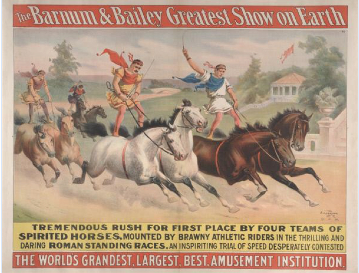 Barnum & Bailey: The Tremendous Rush For First Place, circa 1900. John and Mable Ringling Museum of Art, Sarasota, FL. Tibbals Digitial Collection.