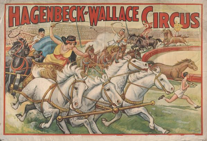 Hagenbeck-Wallace: Three 4-Horse Chariots, date unknown. John and Mable Ringling Museum of Art. Tibbals Digital Collection.