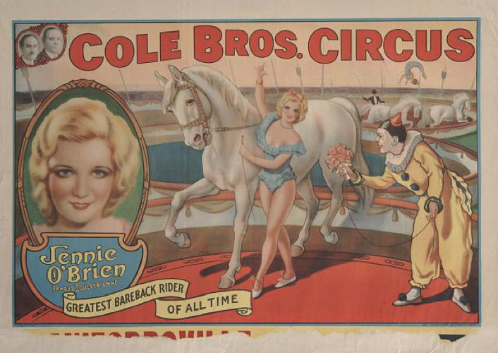 Cole Bros.: Jennie O'Brien Famous Equestrienne, date unknown. John and Mable Ringling Museum of Art, Sarasota, FL. Tibbals Digital Collection.