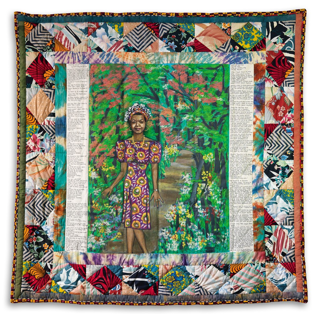 Faith Ringgold, Maya's Quilt of Life, acrylic on canvas, fabric, 1989. Sold September 15, 2015 $461,000.