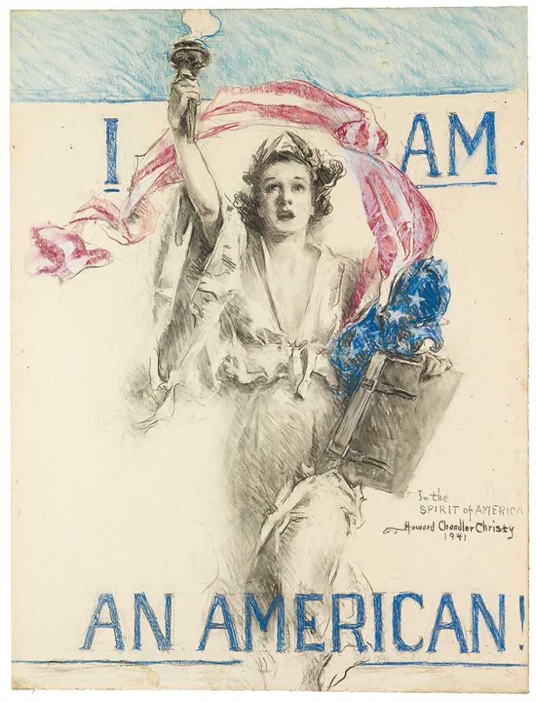 Howard Chandler Christy, I Am an American!, charcoal and pastel on board, 1941. Sold January 28, 2016 for $40,000, an auction record for any drawing by the artist.