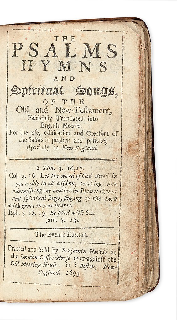 Previously unknown edition of the Bay Psalm Book, The Psalms, Hymns, and Spiritual Songs of the Old and New-Testament…, 1693. Sold February 4, 2016 for $221,000.