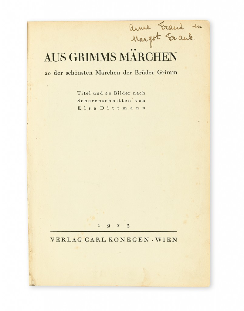 Anne and Margot Frank's copy of Grimm's Fairy Tales (Aus Grimms Märchen), signed and inscribed by Anne Frank, with Margot Frank's ink owner stamp, Vienna, 1925, inscription Amsterdam, circa 1940. Sold May 5, 2016 for $62,500.