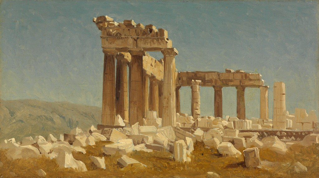 Sanford Robinson Gifford, Study of the Parthenon, oil on canvas, 1869. Sold June 9, 2016 for $269,000.