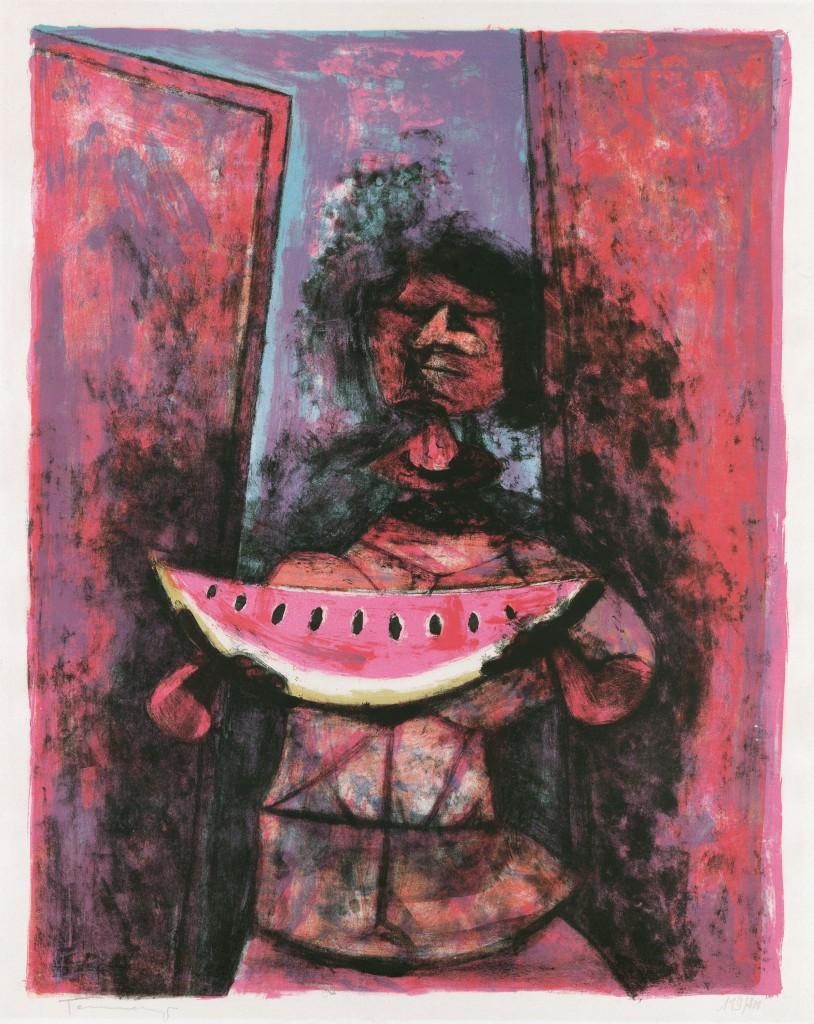 Lot 312: Rufino Tamayo, Mujer con Sandía, color lithograph, 1950. Estimate $2,000 to $3,000.