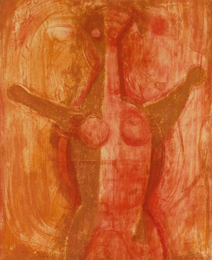 Lot 313: Rufino Tamayo, Mujer, color lithograph, 1964. Estimate $2,000 to $3,000.