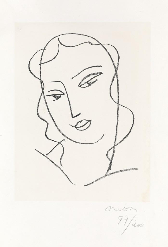 Lot 394: Henri Matisse, Etude pour la Vierge, Tête voilée, lithograph, 1950-51. Estimate $12,000 to $18,000.