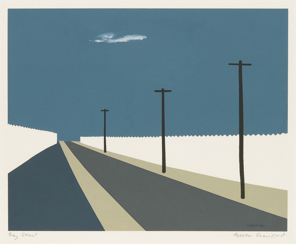 Lot 283: Ralston Crawford, Grey Street, color screenprint, 1940. Estimate $4,000 to $6,000.