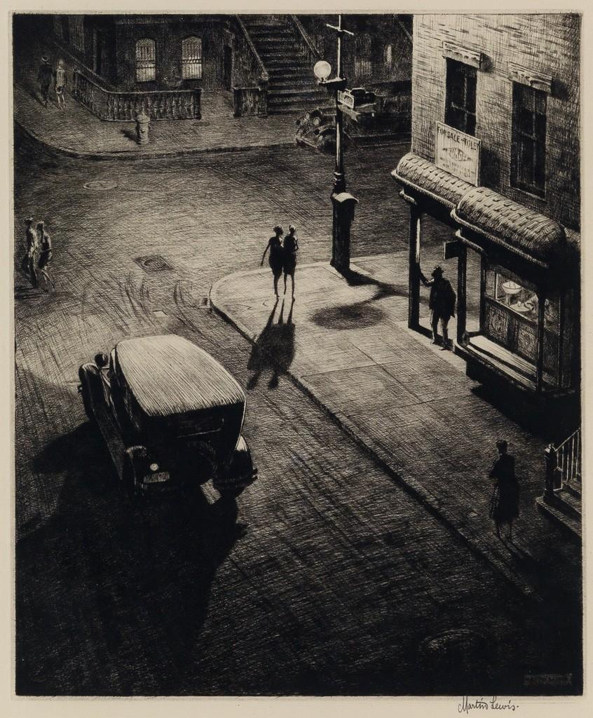 Lot 175: Martin Lewis, Relics (Speakeasy Corner), drypoint, 1928. Price realized: $52,500.