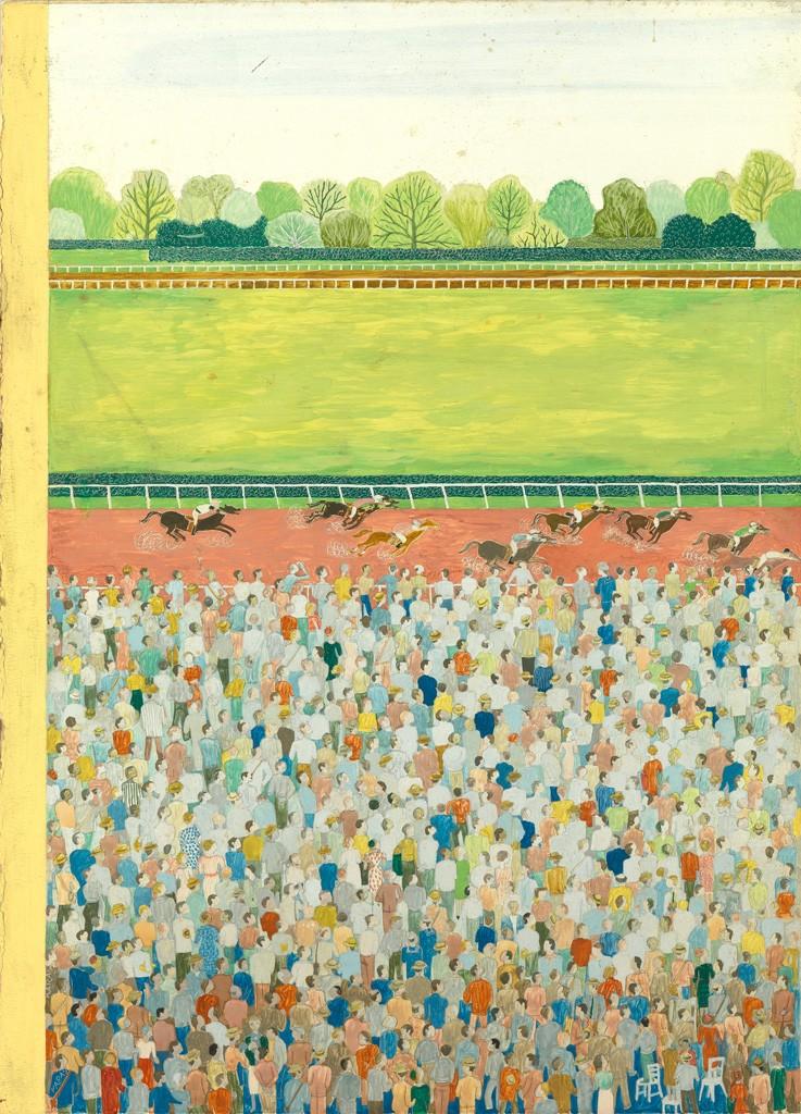 Lot 284: Ilonka Karasz, Ready to Run, tempera, published June 9, 1956. Estimate $6,000 to $9,000.