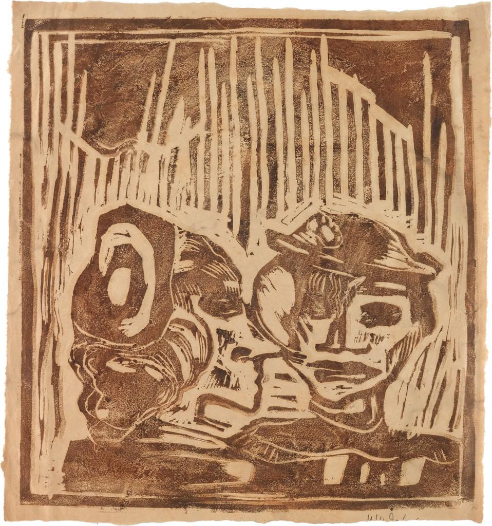Lot 16: W.H. Johnson, Night Birds, woodcut, circa 1935. Estimate $20,000 to $30,000.