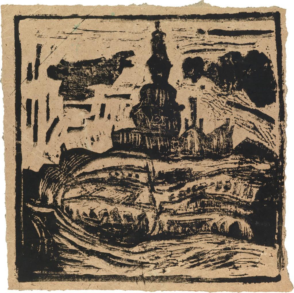 Lot 17: W.H. Johnson, Untitled (Bazaar behind Oslo Domkirke), woodcut, circa 1935. Estimate $8,000 to $12,000.