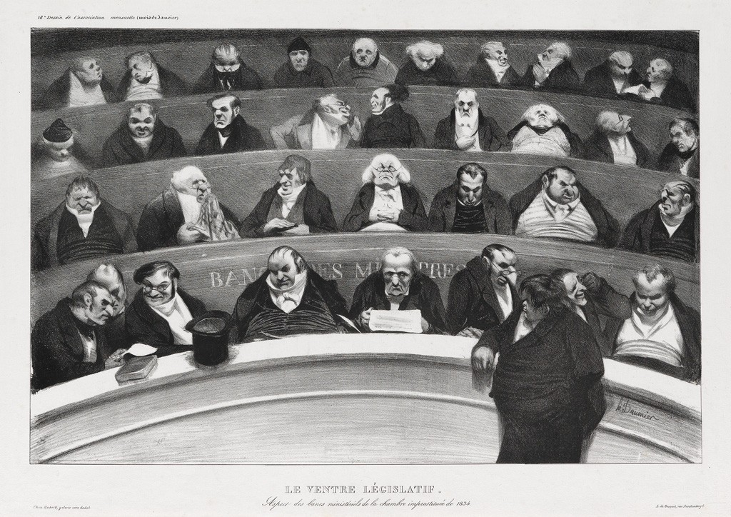 (5) Honoré Daumier, Le Ventre Législatif, lithograph, 1834. Estimate $20,000 to $30,000.