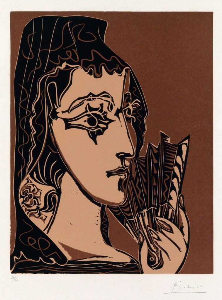 Lot 353: Pablo Picasso, Portrait de Jacqueline en Carmen (L'Espagnole), color linoleum cut, 1962. Price realized: $37,500.