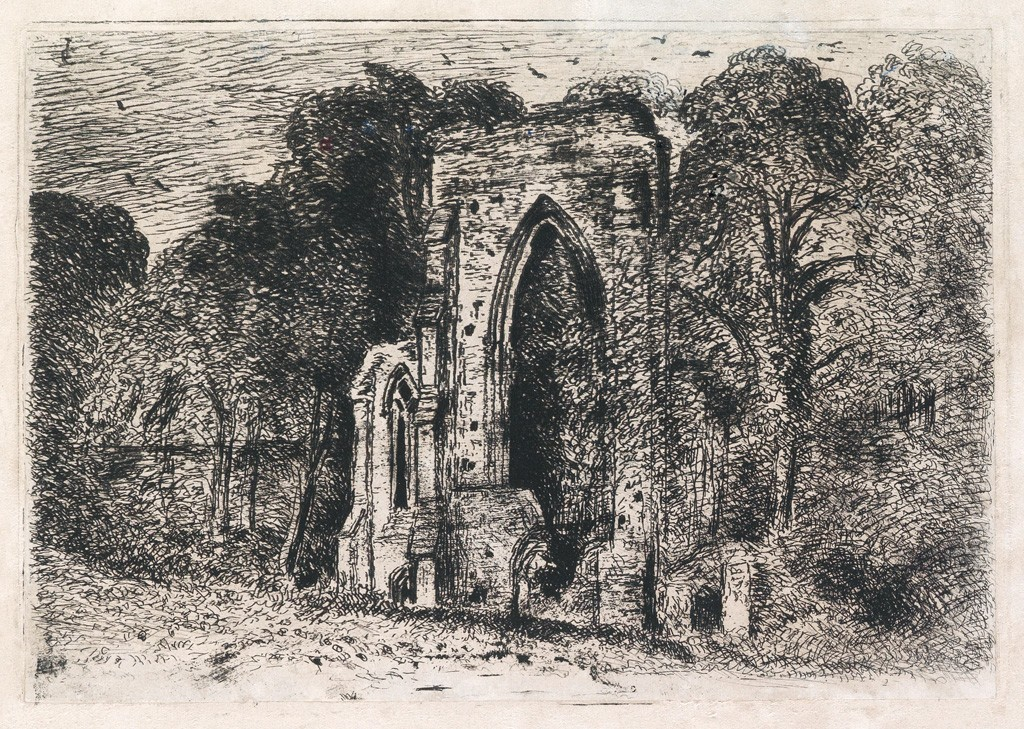 Lot 1: John Constable, The Ruins of Netley Abbey, etching and drypoint, circa 1825. Estimate $2,000 to $3,000.