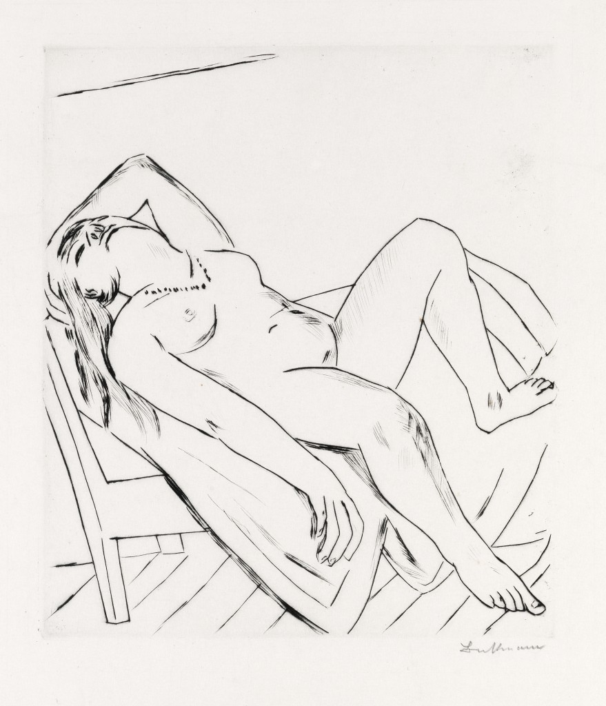 Lot 432: Max Beckman, Liegende, drypoint, 1922. Estimate $5,000 to $8,000.