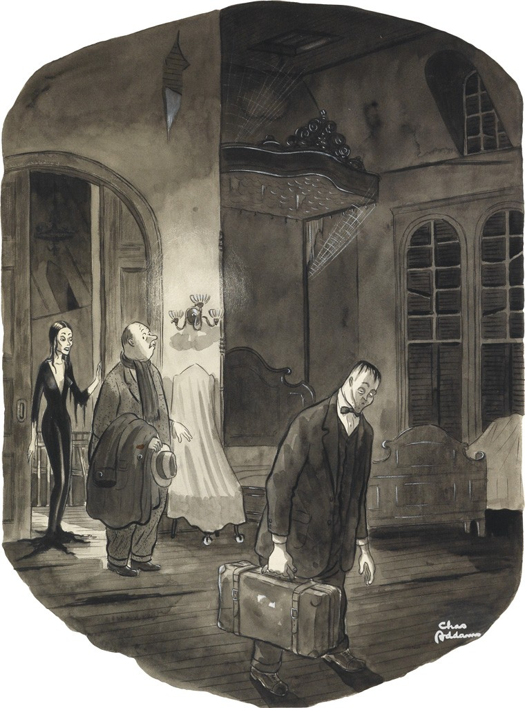 Charles Addams, This is your room. If you should need anything, just scream, watercolor, ink and wash, 1943. Sold September 29, 2016 for $20,000.