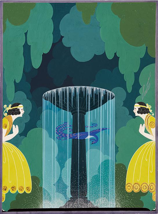 Erté, La Cage Improvisée, gouache, 1922. Sold September 29, 2016 for $45,000, an auction record for the artist.
