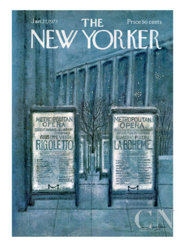 Laura Jean Allen, Metropolitan Opera in the Snow, published cover with revision, January 27, 1973.