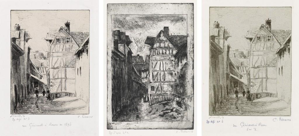 Lots 285, 286 & 287: Camille Pissarro, Rue Géricault, à Rouen, 1896. Each estimate $6,000 to $9,000. Lot 285, etching; Lots 286 & 287, lithograph.