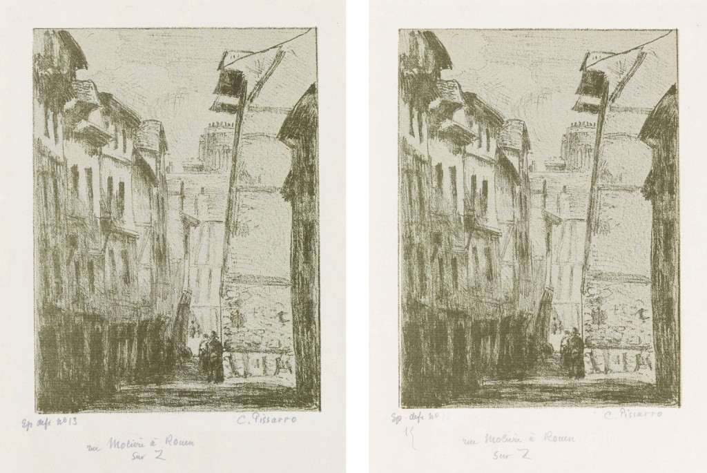 Lots 288 & 289: Camille Pissarro, Rue Molière, à Rouen, lithographs,