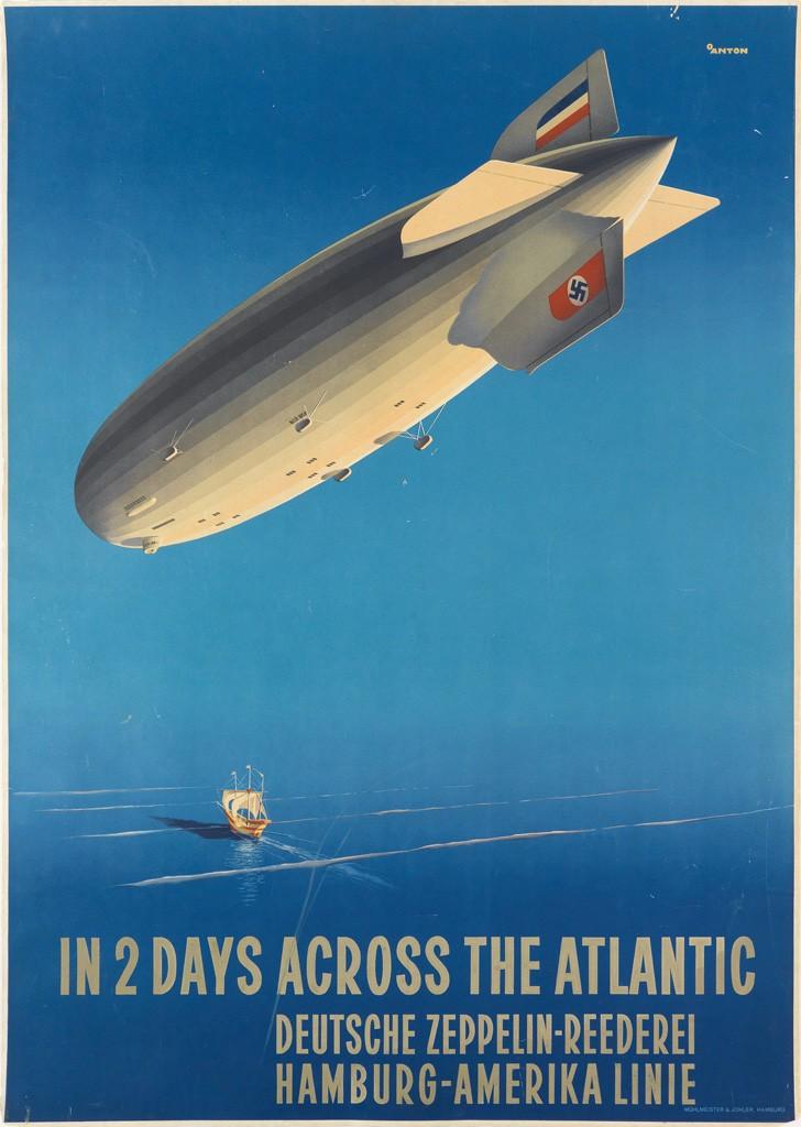 Ottomar Anton, In 2 Days Across the Atlantic / Deutsche Zeppelin - Reederei, undated. Sold November 19, 2015 for $3,000.