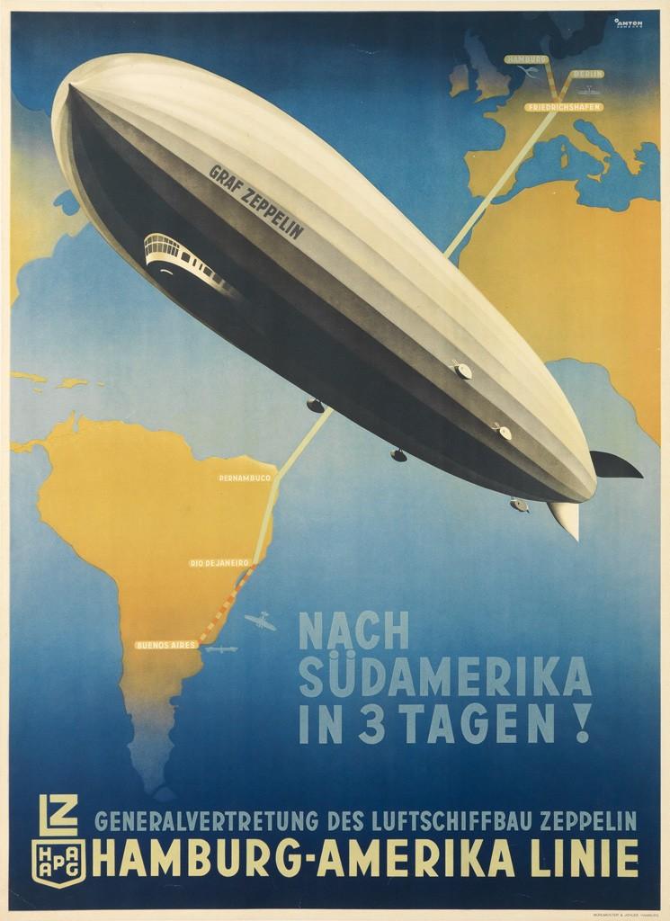 Lot 146: Ottomar Anton, Nach Südamerika in 3 Tagen!, 1936. Estimate $4,000 to $6,000.
