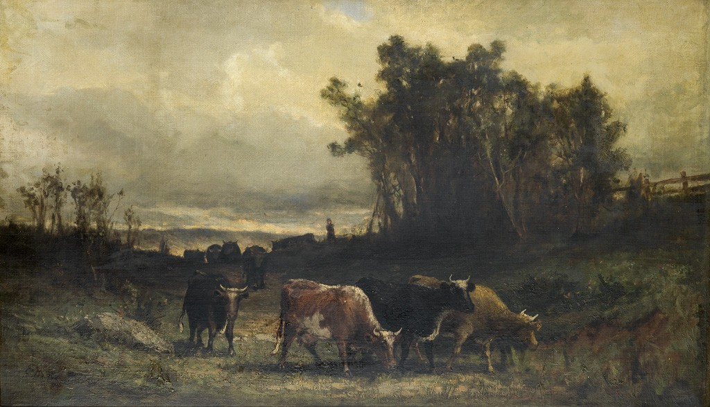 Edward M. Bannister, Untitled (Cow Herd in Pastoral Landscape), oil on canvas, 1877. Sold October 6, 2016 for $75,000, a record for the artist.