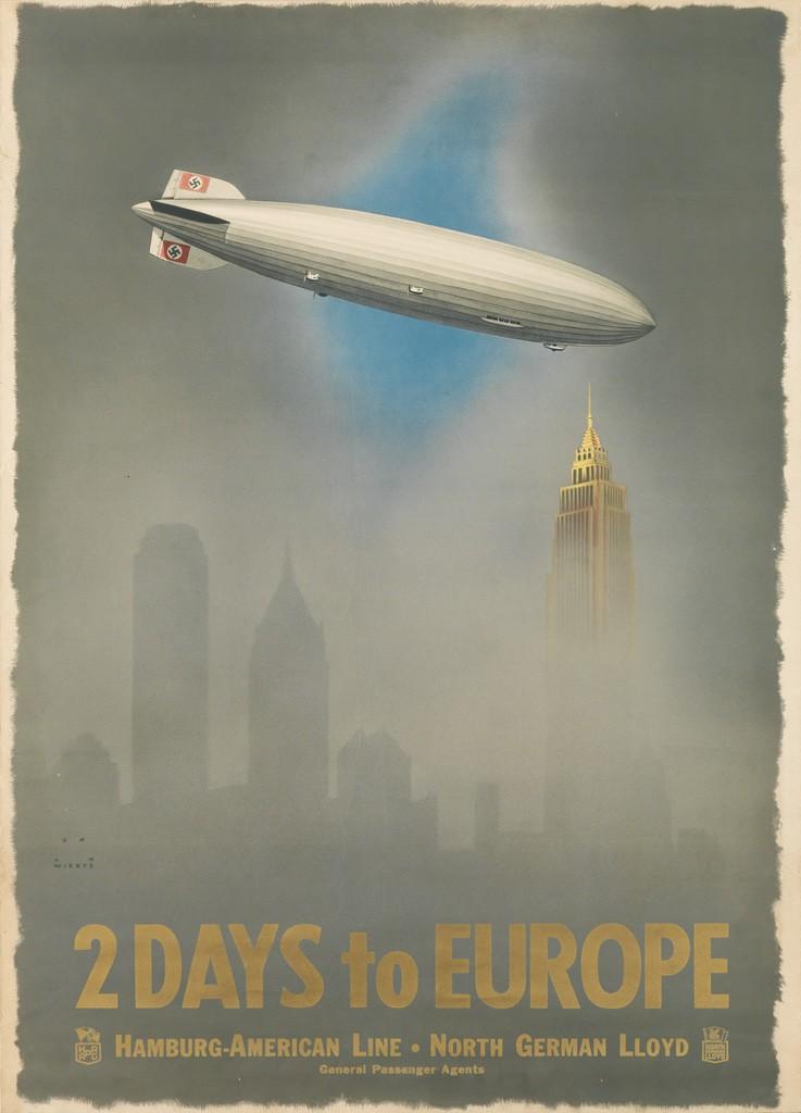 Lot 145: Jupp Wiertz, 2 Days to Europe / Hamburg - American Line, 1936. Estimate $8,000 to $12,000.