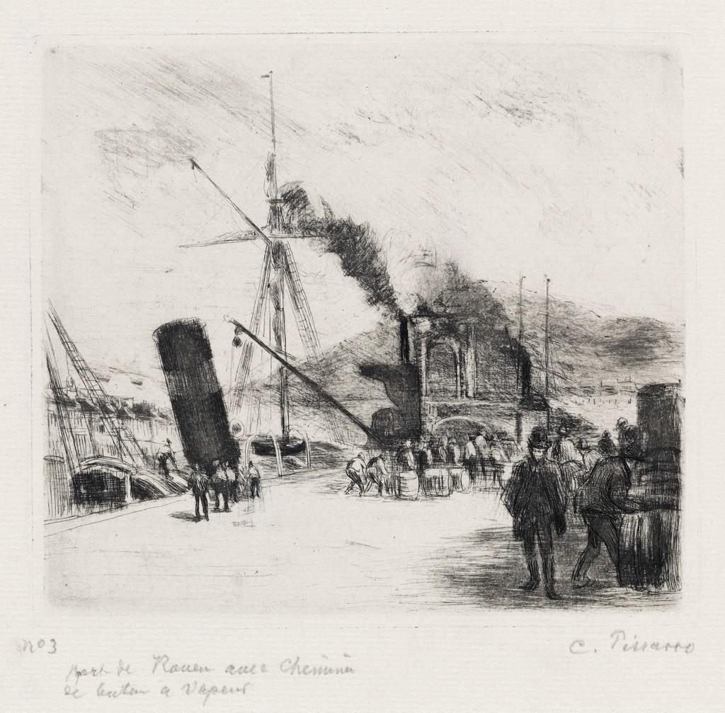 Lot 277: Camille Pissarro, Port de Rouen (avec cheminées), drypoint, 1885. Estimate $8,000 to $12,000.