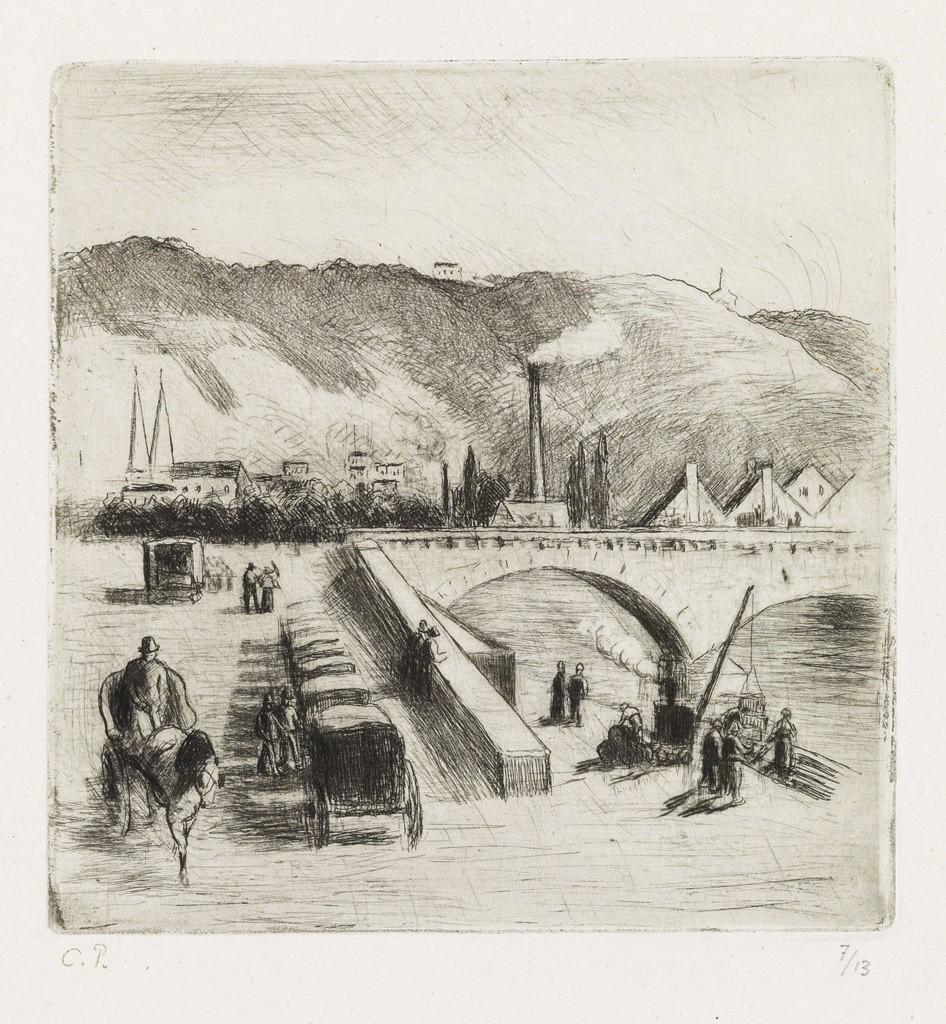 Lot 283: Camille Pissarro, Quai de Paris, à Rouen, etching and drypoint, 1896. Estimate $2,000 to $3,000.