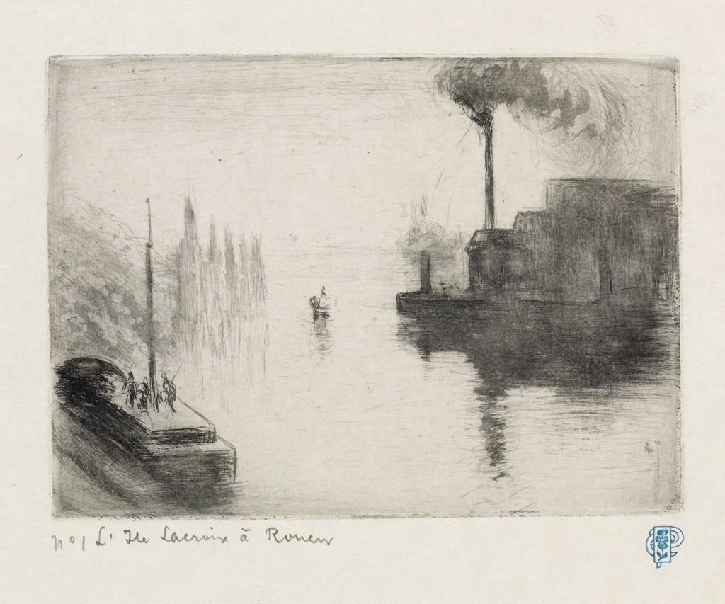 Lot 278: Camille Pissarro, L'Ile Lacrois, à Rouen, drypoint, 1883-87. Estimate $1,500 to $2,500.