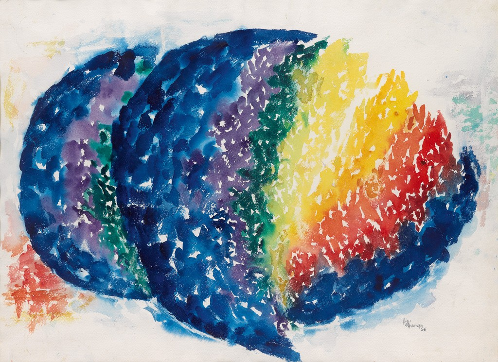 Alma W. Thomas, Genesis, watercolor, 1966. Sold October 6, 2016 for $65,000, a record for a work on paper by the artist.
